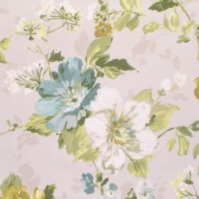 Luciano - Chartreuse - Off-white cotton fabric with a white, blue and light green floral pattern