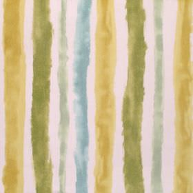 Ionia - Chartreuse - Gold and different shades of green making up a rough, uneven striped pattern for this white fabric made from cotton