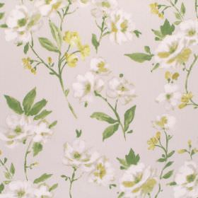 Sophia - Chartreuse - Cotton fabric with a small floral design in light grey, white, yellow and green