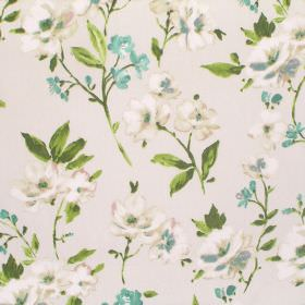 Sophia - Hyacinth - A background of off-white coloured cotton fabric to small florals in turquoise, cream and dusky blue, with green leaves