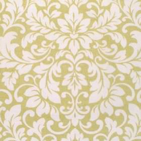 Carlotti - Chartreuse - Green-yellow coloured cotton fabric with a busy pattern of white leafy swirls