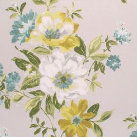 Rosabella - Chartreuse - Different shades of gold, green, dusky blue and white making up a floral pattern on very pale grey cotton fabric