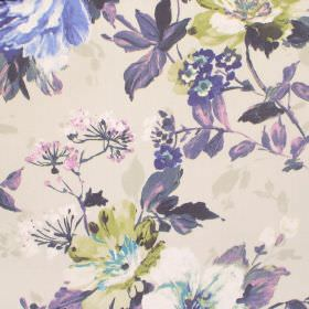 Luciano - Cobalt - Dark purple, light green and blue flowers and leaves printed on a cream coloured cotton fabric background
