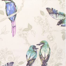 Paradiso - Cobalt - Birds shaded in light green, blue and purple, on a very subtle floral patterned cream-grey coloured cotton fabric