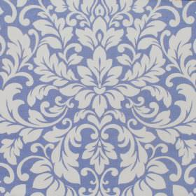 Carlotti - Cobalt - Off-white and cobalt blue coloured cotton fabric, featuring a busy leafy swirl pattern