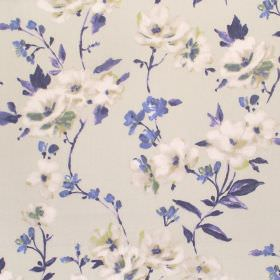 Sophia - Cobalt - Cream coloured flowers printed with indigo coloured flowers and leaves on a beige coloured cotton fabric background