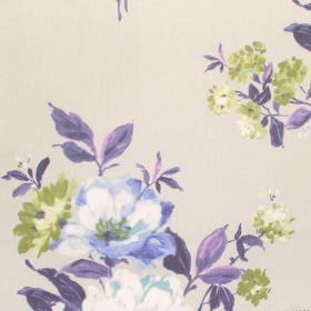 Rosabella - Cobalt - Florals in purple, mauve, green and cream shades printed on cotton fabric in a pale cream-grey colour