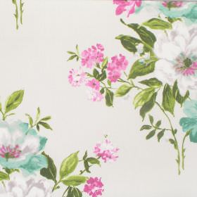 Rosabella - Hyacinth - Flowers and leaves printed in pink, white, turquoise and green on off-white coloured fabric made from cotton