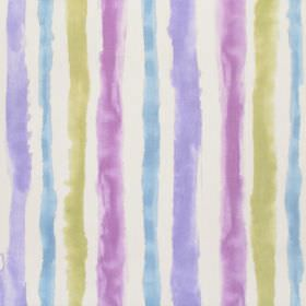 Ionia - Amethyst - Rough, uneven mauve, pink-purple, light green and aqua blue stripes on a white cotton fabric background