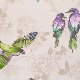 Paradiso - Amethyst - A design of bright purple and green shaded birds on a cream coloured cotton fabric which has a subtle floral pattern