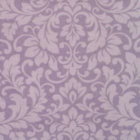 Carlotti - Amethyst - Light purple coloured leafy swirls printed on cotton fabric in a slightly darker shade of purple