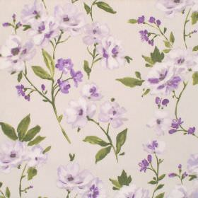 Sophia - Amethyst - Small flowers shaded in purple printed with green leaves and stems over cream-grey coloured cotton fabric