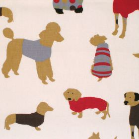 Mans Best Friend - Cinnamon - Cream cotton fabric with brown blue and red dog print