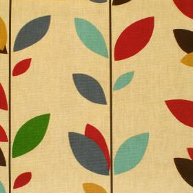 Evergreen - Jewel - Beige cotton fabric with multicolour leaf print