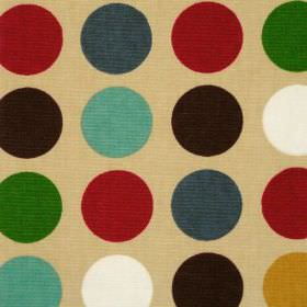 Great Spot - Jewel - Beige cotton fabric with large white red and blue spots