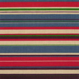 Right Lines - Jewel - Red blue brown and green horizontal striped cotton fabric