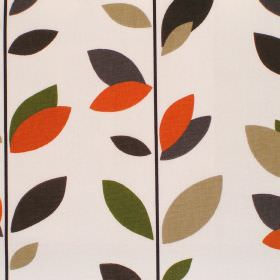 Evergreen - Caramel - Cream cotton fabric with green brown and orange leaf print