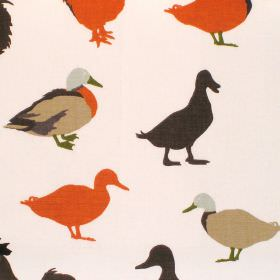 Cock-A-Leekie - Caramel - Cream cotton fabric with brown and orange duck print
