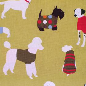 Mans Best Friend - Olive Oil - Green cotton fabric with white brown and red dog print
