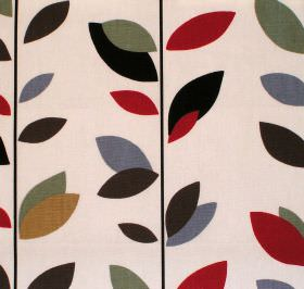 Evergreen - Cinnamon - Cream cotton fabric with multicolour leaf print