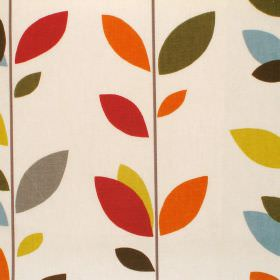 Evergreen - Olive Oil - Cream cotton fabric with bright multicolour leaf print