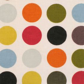 Great Spot - Olive Oil - Cream cotton fabric with large orange red yellow green and blue spots