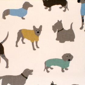 Mans Best Friend - Duck Egg - Cream cotton fabric with yellow grey and clue dog print