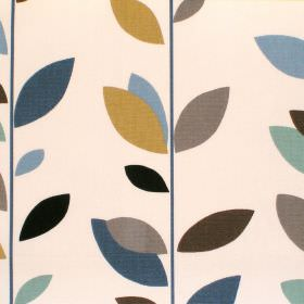Evergreen - Duck Egg - Cream cotton fabric with blue leaf print