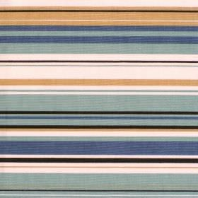 Right Lines - Duck Egg - Blue white and brown striped cotton fabric