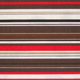 Right Lines - Cinnamon - Brown black red and white horizontal striped cotton fabric
