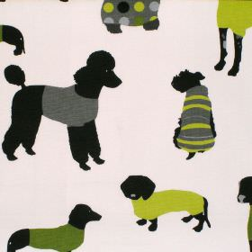 Mans Best Friend - Kiwi - Cream cotton fabric with brown and green dog print