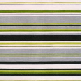Right Lines - Kiwi - Cotton fabric with white green brown and blue horizontal stripes