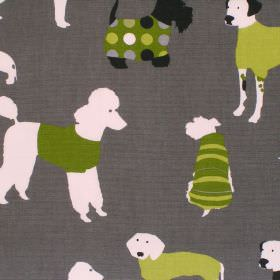 Mans Best Friend - Granite - Dark grey cotton fabric with white and green dog print