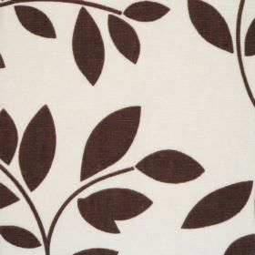 Topia - Cinnamon - White cotton fabric with simple brown leaf trail