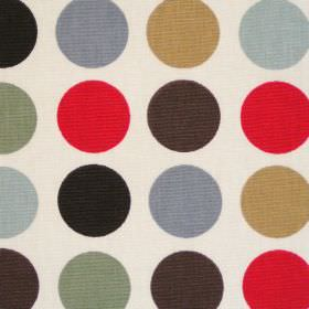 Great Spot - Cinnamon - Cream cotton fabric with large brown red blue and green spots