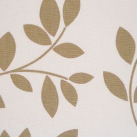 Topia - Caramel - White cotton fabric with simple brown leaf trail
