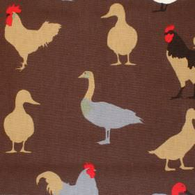 Cock-A-Leekie - Nutmeg - Brown cotton fabric with brown blue and red duck print
