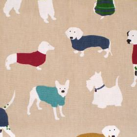 Mans Best Friend - Jewel - Beige cotton fabric with white red and blue dog print