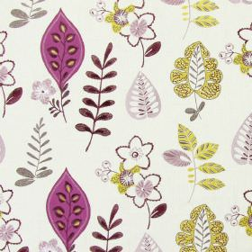 Ferris - Amethyst - White fabric with happy modern floral  and leaf patterns in amethyst purple