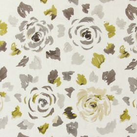Jamboree - Chestnut - Chestnut brown stitched modern floral pattern with falling petals on sandy fabric