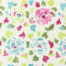 Jamboree - Rose - Rose pink stitched modern floral pattern with falling petals on sandy fabric