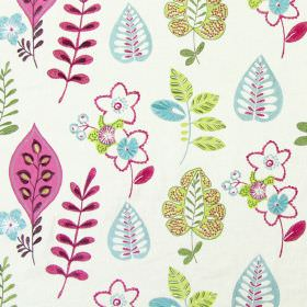 Ferris - Rose - Light sandy fabric with happy modern floral  and leaf patterns in rose pink