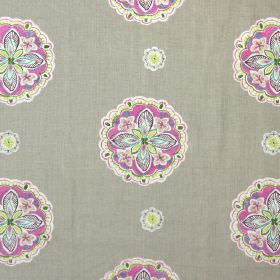 Hoopla - Orchid - Sandy fabric with a modern orchid pink large and small flower stitching pattern