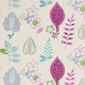 Ferris - Damson - Light sandy fabric with happy modern floral  and leaf patterns in damson purple and blue