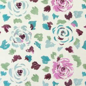 Jamboree - Grape - Grape purple stitched modern floral pattern with falling petals on sandy fabric