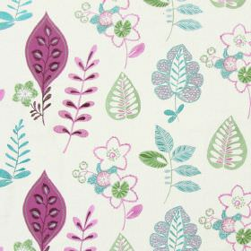 Ferris - Grape - Light sandy fabric with happy modern floral  and leaf patterns in grape purple and blue