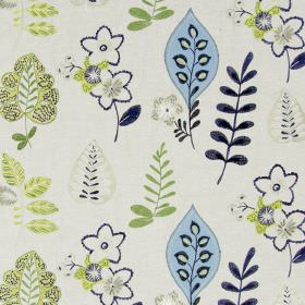 Ferris - Sapphire - Light sandy fabric with happy modern floral  and leaf patterns in sapphire blue