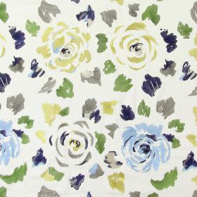 Jamboree - Sapphire - Sapphire blue stitched modern floral pattern with falling petals on sandy fabric