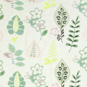 Ferris - Peppermint - Light sandy fabric with happy modern floral  and leaf patterns in peppermint green