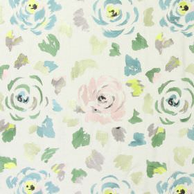Jamboree - Peppermint - Peppermint green stitched modern floral pattern with falling petals on sandy fabric